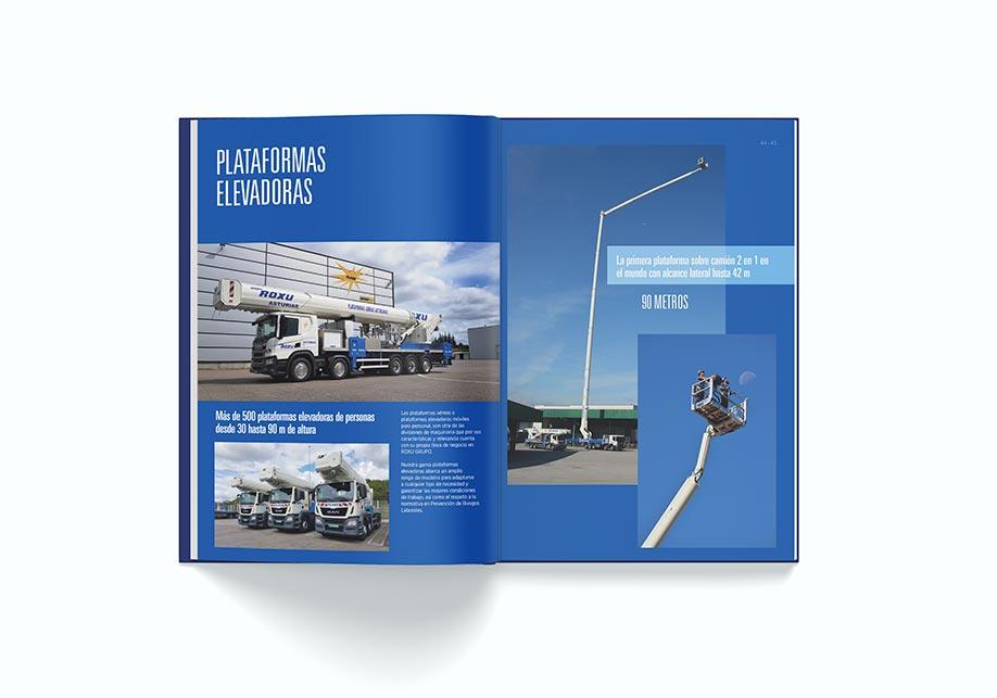 Grupo Roxu. Branding. Diseño Editorial. Catálogo interior Plataformas elavedoras