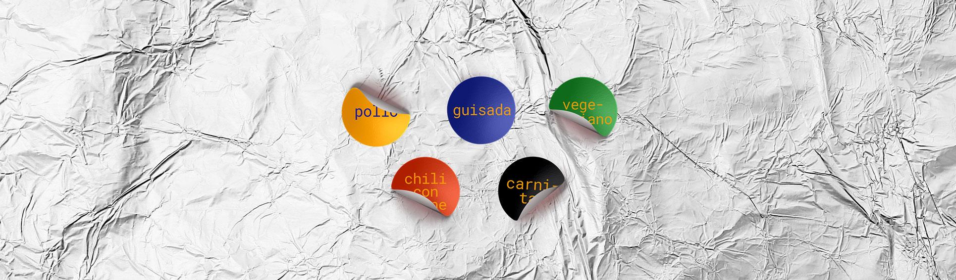 Los tacos del Rey. Branding. Pegatinas